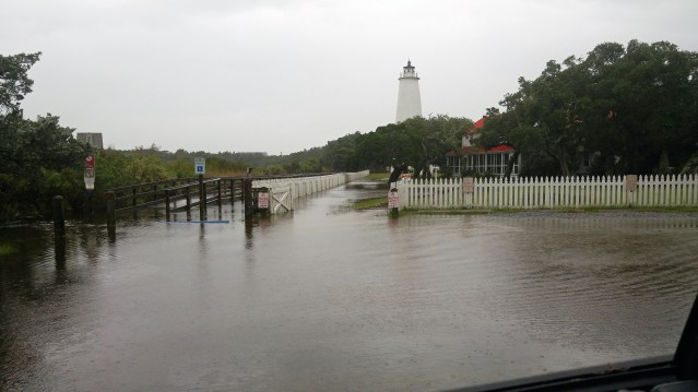 Lighthouse experiencing minor flooding Friday afternoon, Oct. 2. Photoby P. Vankevich