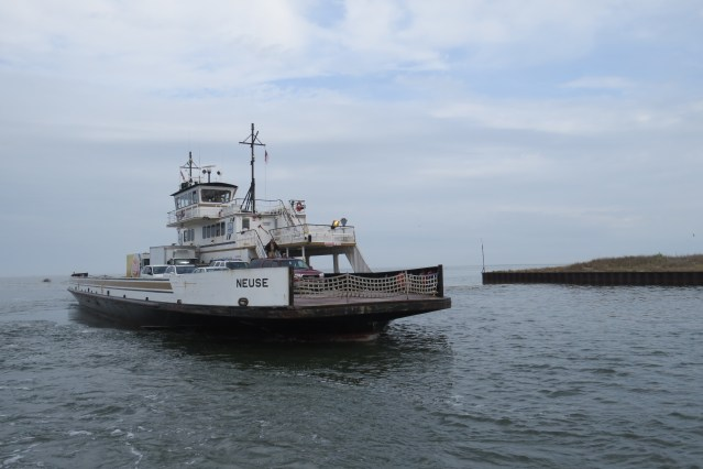 The Neuse pulls into the 'south dock,' which is at the north end of Ocracoke.