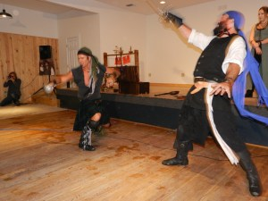 The Shadow Players will demonstrate stage combat at 5 p.m. on the grounds of the Ocracoke Oyster Co.