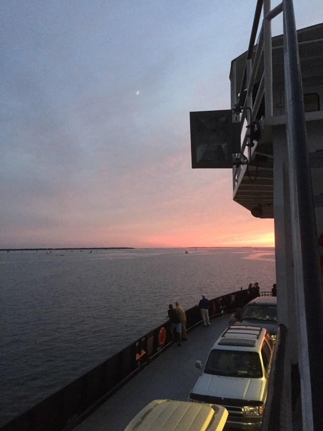 Evening ride on the Hatteras-Ocracoke ferry. Photo by C. Leinbach