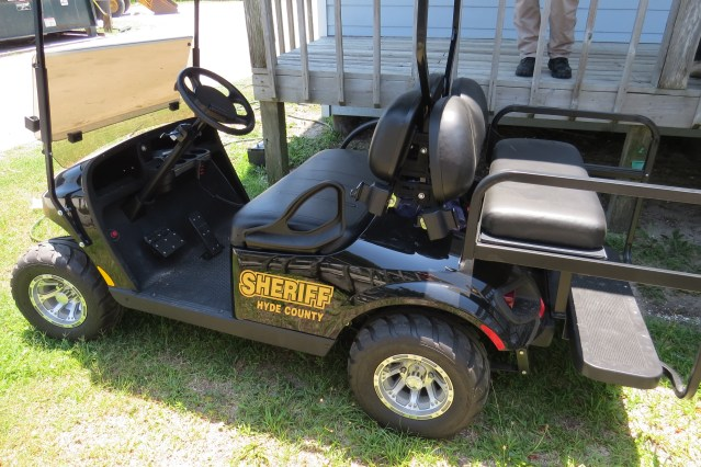 Hyde County deputy sheriffs patrol in this golf cart.