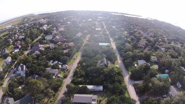 Ocracoke from a drone's view. Photo by Kyle Pilot.