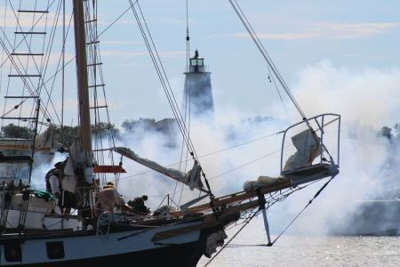The Battle of Ocracoke in Silver Lake Harbor on Saturday. Photo by Natasha Jackson