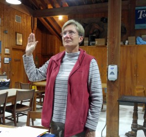 Islander Teresa Adams is sworn in Monday night during the Hyde County commissioners' meeting as the Hyde County public information officer.