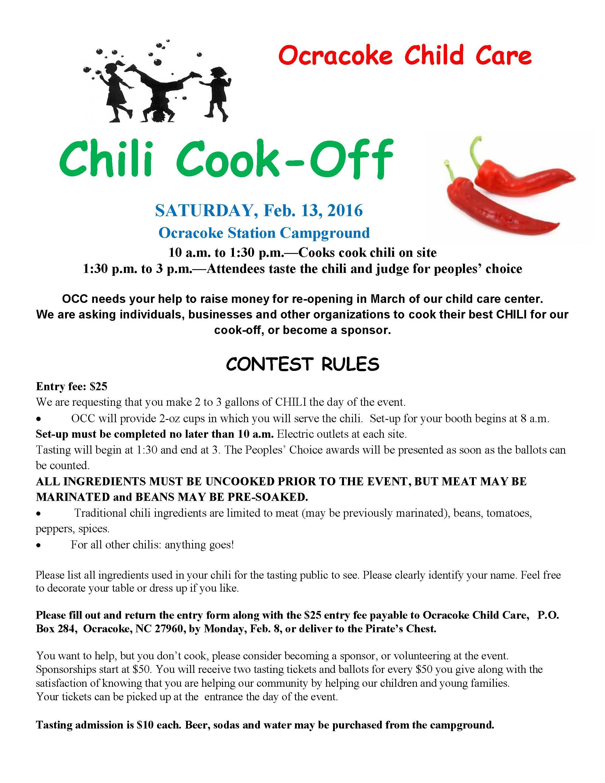 Ocracoke Child Care slates chili cook-off