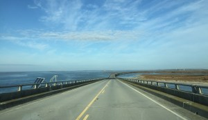 View from the top of the Herbert C. Bonner Bridge heading north. Photo by C. Leinbach