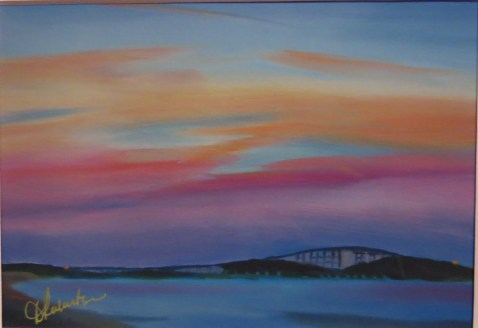 The Bonner Bridge, water color print by Denise Robertson, an Outer Banks artist. This print available at Village Craftsmen.