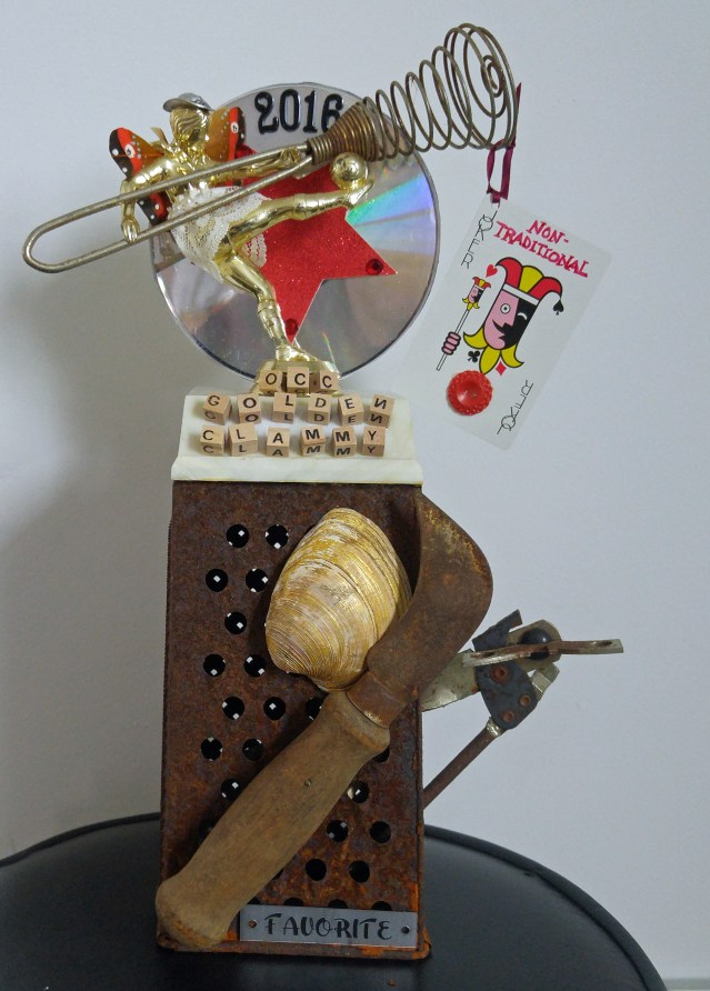 Trophy created by Susan Dodd and won by WOVV, Ocracoke''s community radio station for best non-tradional chowder