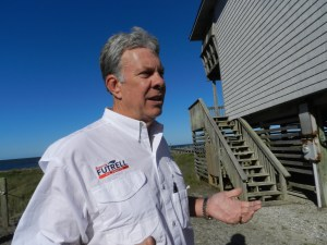 State senate candidate Brownie Futrell outside his Ocracoke home.