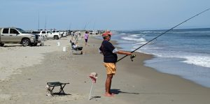 Marci Carter Mason fished with the Tide Runners of Ocracoke. Photo by P. Vankevich