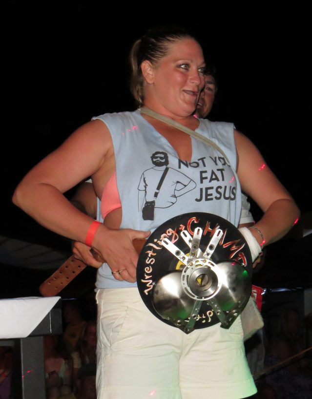 "Melessa Owsley, ""Fat Jesus"" with her first-place trophy. Photo: C. Leinbach"