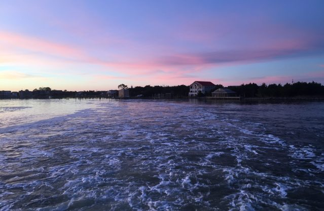 Ocracoke recedes as a long-route ferry departs in the early morning. Photo: C. Leinbach