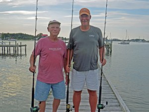 Doran Quigg and Charlie Mason prepare to do battle for cobia. Photo by P. Vankevich