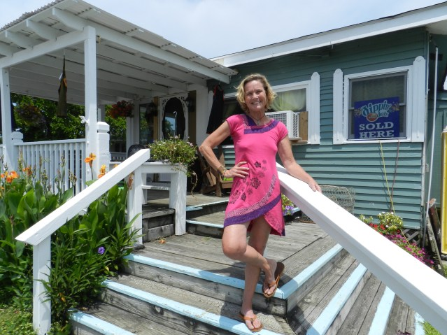 Kathleen Triolo outside her Island Vibe shop on British Cemetery Road across from Teeter's Campground. Photo: C. Leinbach