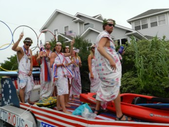 The Ride the Wind Surf Shop float featuring the summer Olympics won first place. Photo by C. Leinbach