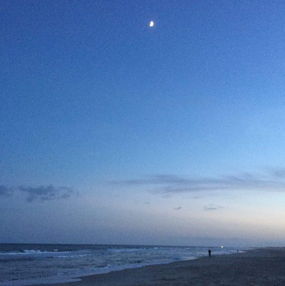 Ocracoke beach moon rise.