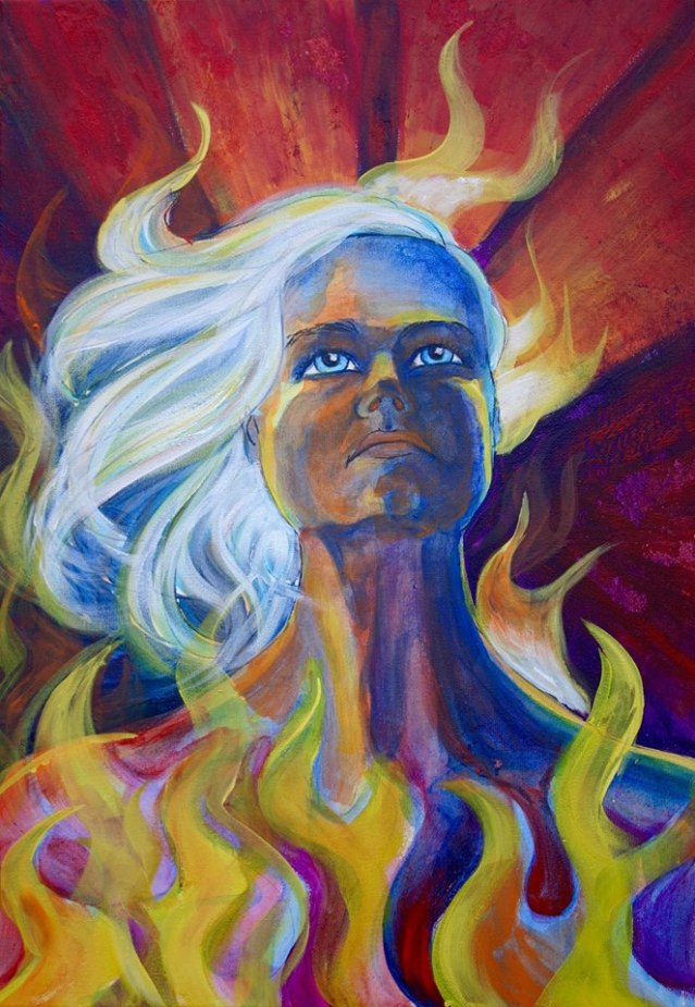 """""""Burning Woman,"""" by Kitty Mitchell, will among her new works on view starting Aug. 24 in Down Creek Gallery."""