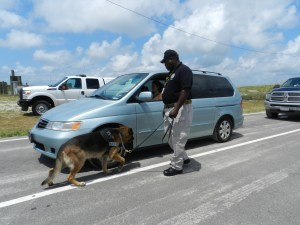 Ralph Ackers, a transportation security inspector, leads his canine officer Gero in detecting explosives components.