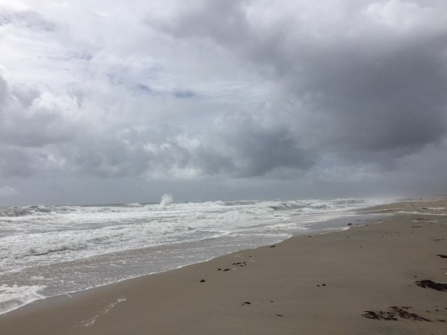 The roiling surf around noon today at the Lifeguard Beach on Ocracoke. Photo: C. Leinbach