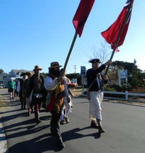 Since they were on the island, the pirates decided to do their march to Springers Point for the Blackbeard memorial. Photo: C. Leinbach