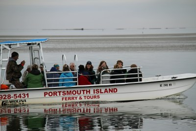 Captain Donald Austin taking birders over to Portsmouth Island. Photo by P. Vankevich