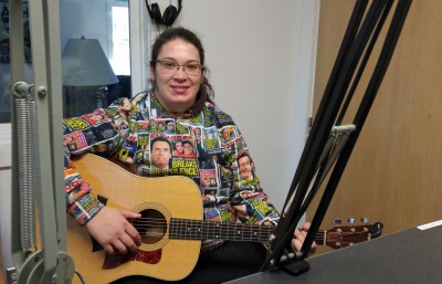Emily Musolino visits WOVV, Ocracoke's community radio station. Photo by P. Vankevich
