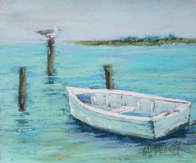 A pastel painting by islander Mary Bassell is among the many small art works for sale during the Fourth Annual Ocracoke Through Your Arts art auction to benefit the Ocracoke Preservation Society.