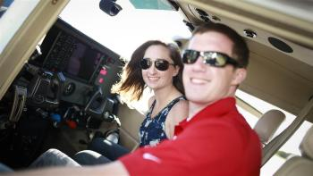Flying to Ocracoke in their rented Sklyane are Conor and Sam Dancy. Photo: Chris Rose