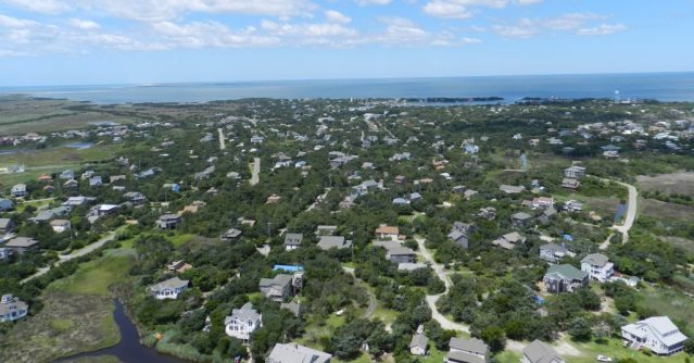 An overhead view of Ocracoke Village, NC, looking west. Photo: C. Leinbach
