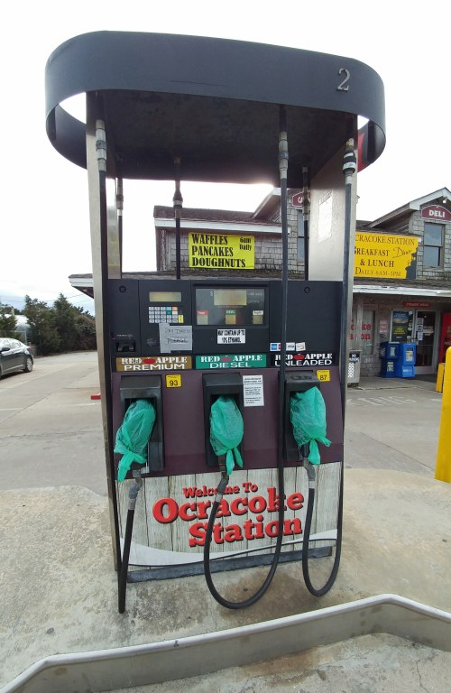 Shut-off gas pumps at Ocracoke Station, Ocracoke, N.C. Photo: Peter Vankevich