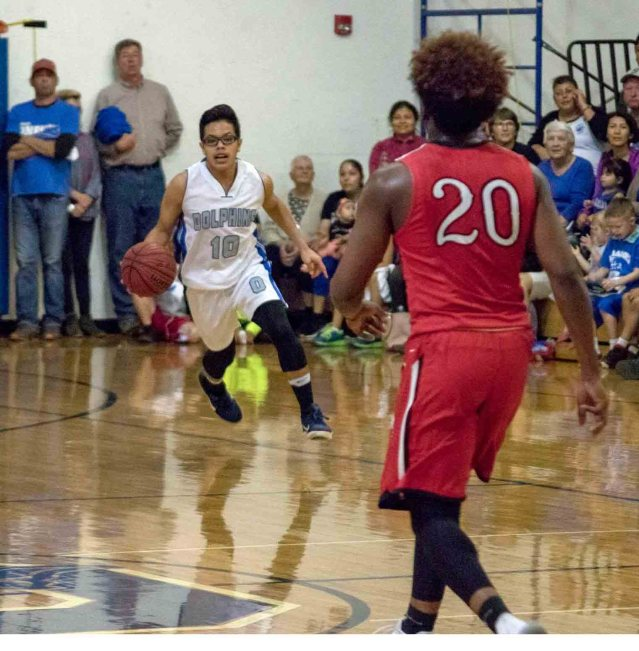 Senior guard Darvin Contreras in the victorious Feb. 20 game in the Ocracoke School gym, Ocracoke, NC. Photo by Casey Robertson