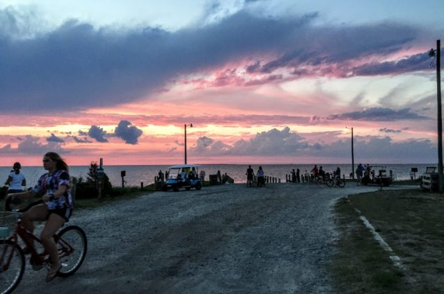Watching the sunset at the NPS boat launch area is a nightly event on Ocracoke, N.C. Photo: C. Leinbach