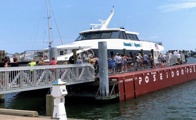 Ocracoke, NC, visitors board the Ocracoke Express passenger ferry for the return trip to Hatteras. Photo: C. Leinbach