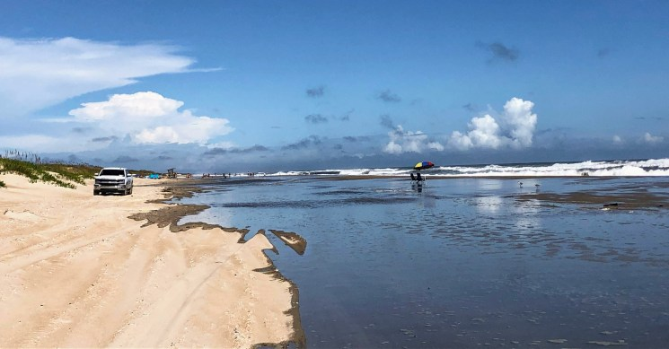 The ocean was almost at the dunes near the Lifeguard Beach, Ocracoke, two hours before high tide on Sept. 13, 2020. Photo: C. Leinbach