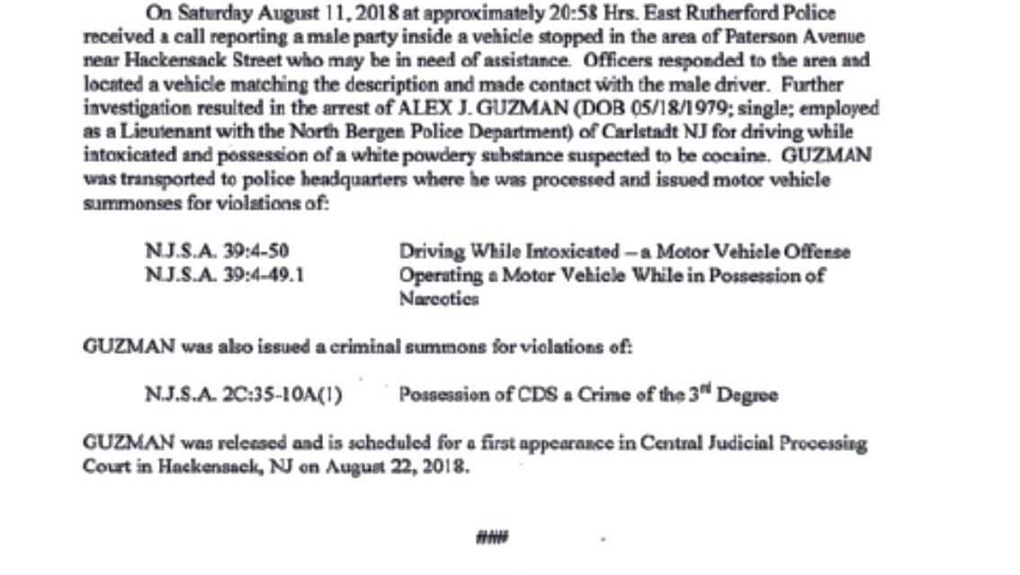 East Rutherford: N. Bergen Lieutenant Caught DWI w/ Cocaine!