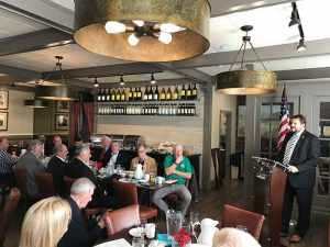 Ocean County Prosecutor Bradley Billhimer addresses the Ocean County Mayors' Association at the Cove restaurant in Toms River. (Photo by Chris Lundy)