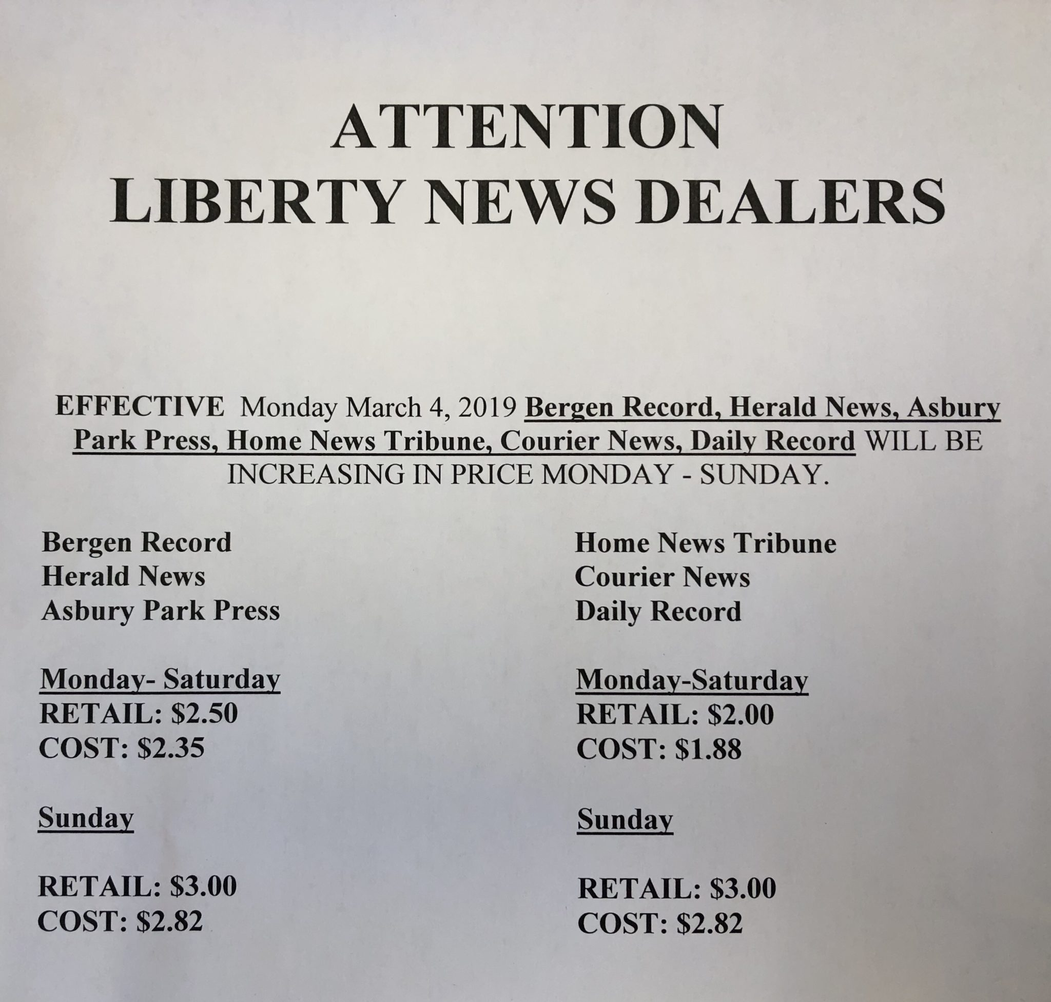 Newspaper Prices Going Up! | Ocean County Scanner News