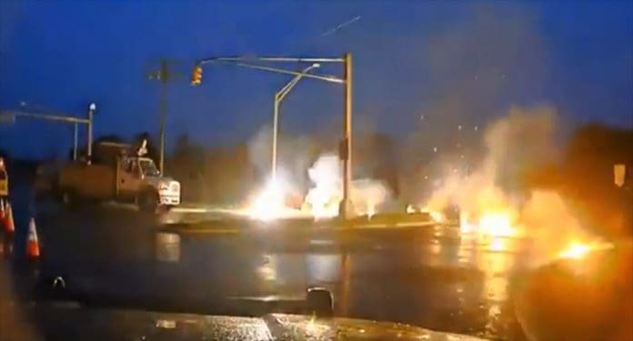 VIDEO: Downed Wires Erupts Into Flames, No Injuries
