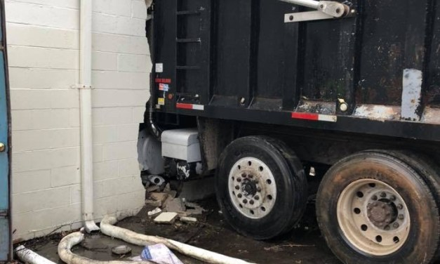 FREEHOLD: Dump Truck vs. Building (Earlier Today)