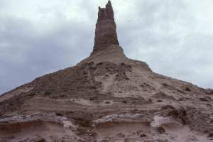 tall geologic sandstone rock formation known as Chimney Rock, Nebraska