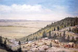 painting of covered wagons descending from mountain landscape