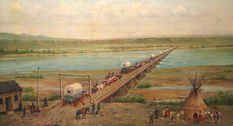 painting by William Henry Jackson of covered wagons crossing a bridge