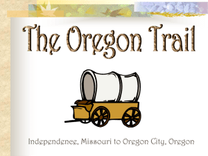 drawing of emigrant covered wagon and text The Oregon Trail