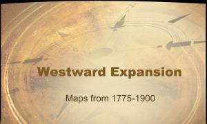 face of compass with text Westward Expansion Maps from 1775-1900