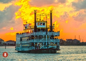 Riverboat against sunset