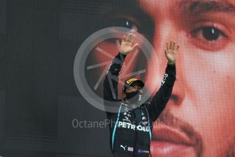World © Octane Photographic Ltd. Formula 1 – F1 Portuguese GP, Podium. Mercedes AMG Petronas F1 W11 EQ Performance - Lewis Hamilton. Autodromo do Algarve, Portimao, Portugal. Sunday 25th October 2020.