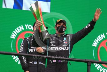 World © Octane Photographic Ltd. Formula 1 – F1 Portuguese GP, Podium. Mercedes AMG Petronas F1 W11 EQ Performance - Lewis Hamilton, Valtteri Bottas. Autodromo do Algarve, Portimao, Portugal. Sunday 25th October 2020.