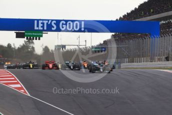 World © Octane Photographic Ltd. Formula 1 – F1 Portuguese GP, Race. Mercedes AMG Petronas F1 W11 EQ Performance - Lewis Hamilton leads the race start. Autodromo do Algarve, Portimao, Portugal. Sunday 25th October 2020.