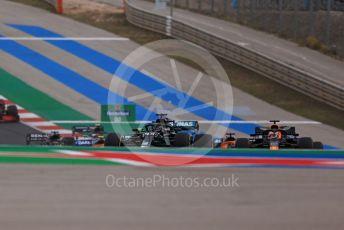 World © Octane Photographic Ltd. Formula 1 – F1 Portuguese GP, Race. Mercedes AMG Petronas F1 W11 EQ Performance - Lewis Hamilton leads into turn 1 on the 1st lap. Autodromo do Algarve, Portimao, Portugal. Sunday 25th October 2020.