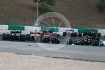 World © Octane Photographic Ltd. Formula 1 – F1 Portuguese GP, Race. Aston Martin Red Bull Racing RB16 – Max Verstappen and BWT Racing Point F1 Team RP20 - Sergio Perez get close heading into turn 2 before touching. Autodromo do Algarve, Portimao, Portugal. Sunday 25th October 2020.